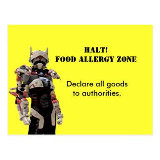 HALT! FOOD ALLERGY ZONE POSTCARD
