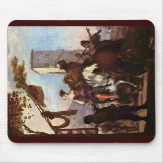 Halt In Front Of The Inn By Schönfeld Johann Heinr Mouse Pad