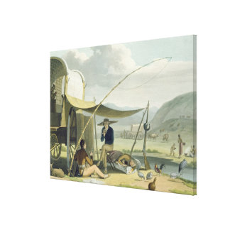 Halt of a Boor's Family, plate 17 from 'African Sc Stretched Canvas Print