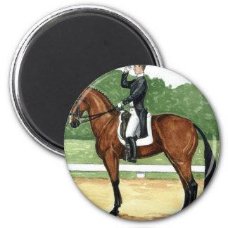 Halt, Salute at X Dressage Art Bay Horse 2 Inch Round Magnet