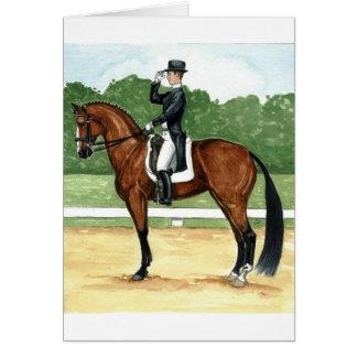 Halt, Salute at X Dressage Art Bay Horse Card