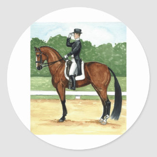 Halt, Salute at X Dressage Art Bay Horse Classic Round Sticker