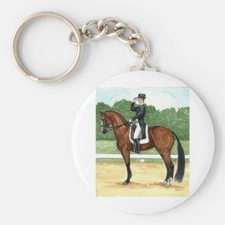 Halt, Salute at X Dressage Art Bay Horse Keychain