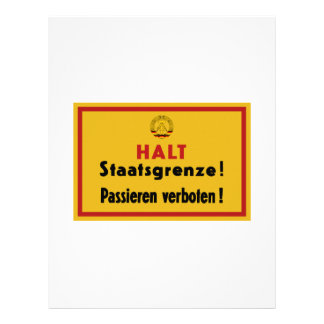 Halt Staatsgrenze! Berlin Wall, Germany Sign Letterhead Template