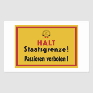 Halt Staatsgrenze! Berlin Wall, Germany Sign Rectangular Sticker