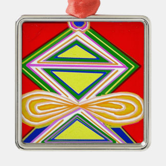 HALU HALOO Karuna Reiki - Tripod Triangle Symbols Square Metal Christmas Ornament