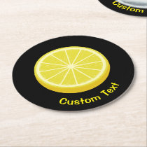 Halve Lemon Round Paper Coaster