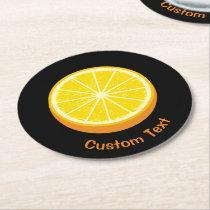 Halve Orange Round Paper Coaster