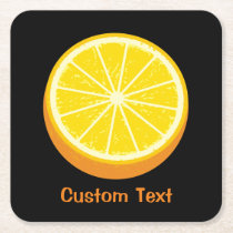 Halve Orange Square Paper Coaster