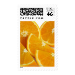 Halves and quarters of ripe, juicy, sweet postage stamps