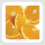 Halves and quarters of ripe, juicy, sweet square stickers