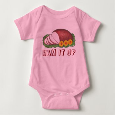 Christmas Themed HAM IT UP Holiday Ham Pineapple Christmas Dinner Baby Bodysuit