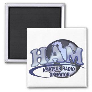 HAM LOGO BLUE AMATEUR RADIO OPERATOR 2 INCH SQUARE MAGNET