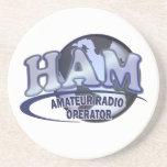 HAM LOGO BLUE AMATEUR RADIO OPERATOR BEVERAGE COASTERS