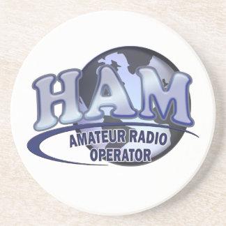 HAM LOGO BLUE AMATEUR RADIO OPERATOR DRINK COASTER