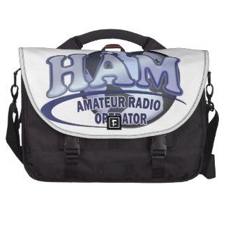 HAM LOGO BLUE AMATEUR RADIO OPERATOR LAPTOP COMMUTER BAG