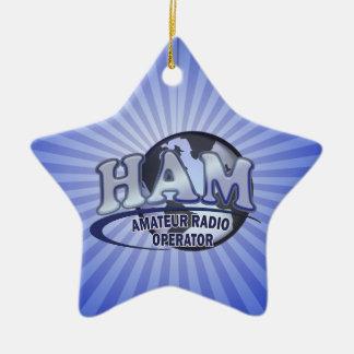 HAM LOGO BLUE AMATEUR RADIO OPERATOR CHRISTMAS TREE ORNAMENTS