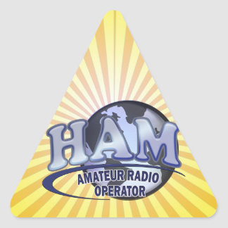 HAM LOGO BLUE AMATEUR RADIO OPERATOR TRIANGLE STICKER