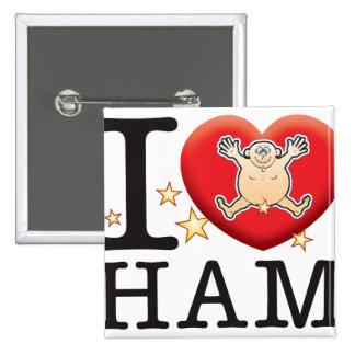 Ham Love Man 2 Inch Square Button