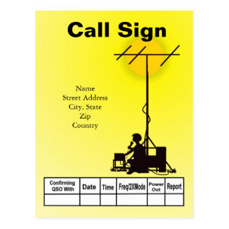 Ham Operator Outdoor Silhouette QSL Card
