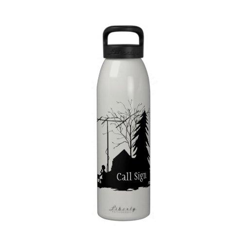 Ham Operator Silhouette Field Day Water Bottle