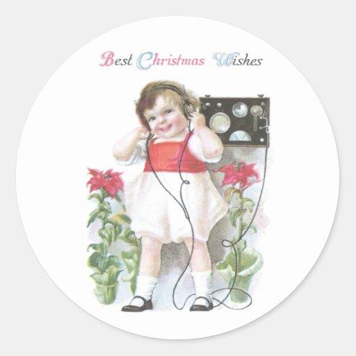 Ham Radio Antique Christmas Classic Round Sticker