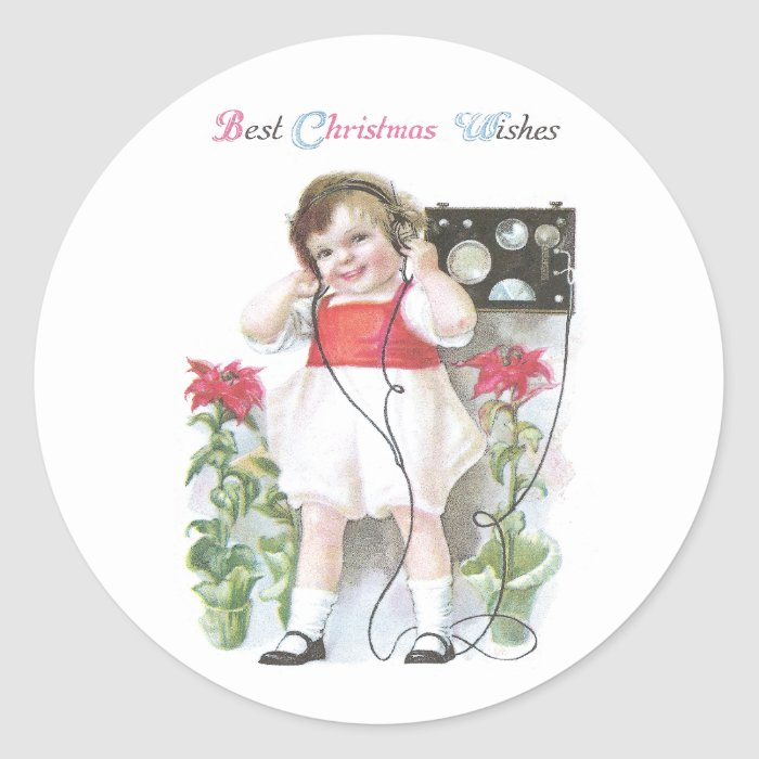 Ham Radio Antique Christmas Classic Round Sticker