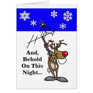 Ham Radio Christmas Card Rudolph Holding Antenna