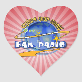 HAM RADIO - EXPLORE YOUR WORLD HEART STICKER