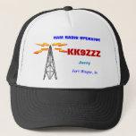 """HAM RADIO OPERATOR CAP<br><div class=""""desc"""">This neat design features original artwork,  Call,  name,  location all customizable as you wish. 73 de Gary,  K8JCR</div>"""