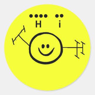"Ham Radio Smiley Sticker + ""Hi"" in Morse Code"
