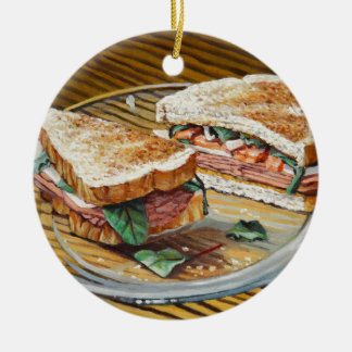Ham, Salami and Cheese Sandwich Ceramic Ornament