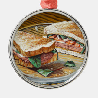 Ham, Salami and Cheese Sandwich Metal Ornament