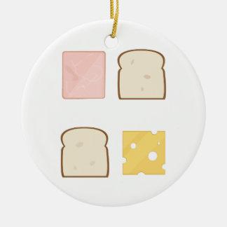 Ham Sandwich Ceramic Ornament