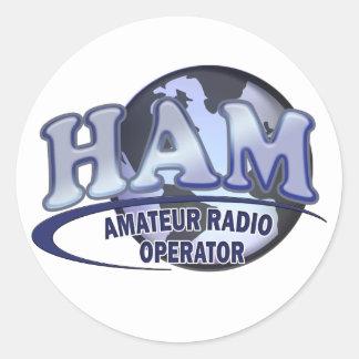 HAM WORLD LOGO Amateur Radio Classic Round Sticker