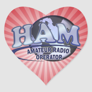HAM WORLD LOGO Amateur Radio Heart Sticker
