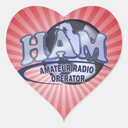 HAM WORLD LOGO Amateur Radio Heart Sticker