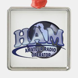 HAM WORLD LOGO Amateur Radio Metal Ornament