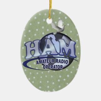HAM WORLD LOGO Amateur Radio Christmas Tree Ornament