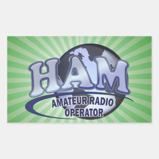 HAM WORLD LOGO Amateur Radio Rectangular Sticker