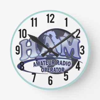HAM WORLD LOGO Amateur Radio Round Clock