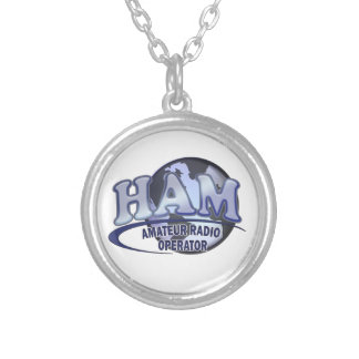 HAM WORLD LOGO Amateur Radio Silver Plated Necklace
