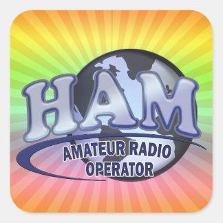 HAM WORLD LOGO Amateur Radio Square Sticker