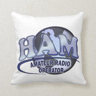 HAM WORLD LOGO Amateur Radio Throw Pillow