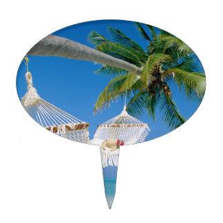 Hamaca de las vacaciones del paraíso de la playa figuras de tarta
