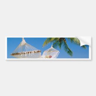Hamaca de las vacaciones del paraíso de la playa pegatina de parachoque