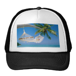 Hamaca de las vacaciones del paraíso de la playa gorros bordados
