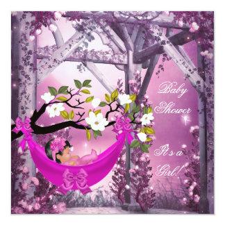 Hamaca linda de los rosas bebés del chica de la invitacion personal
