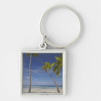Hamaca y palmeras, centro turístico isleño de la p llavero cuadrado plateado