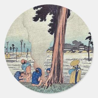 Hamamatsu por Ando, Hiroshige Ukiyoe Pegatina Redonda